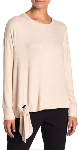 Bobeau Women's Ribbed Trim Side Tie Pullover Sweater - Size Small - Sand Dollar