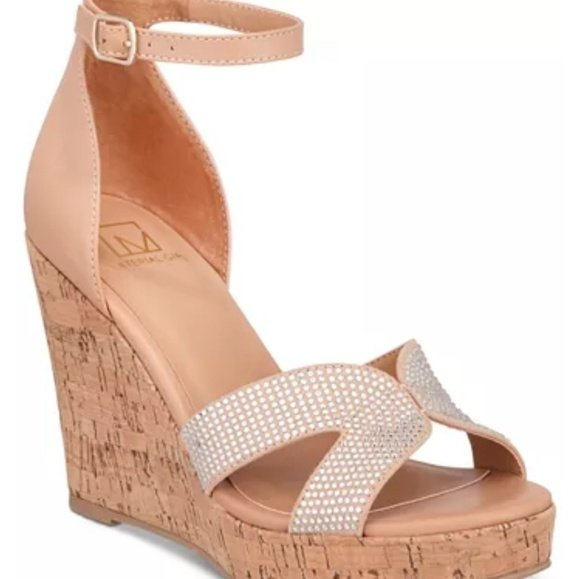 Material Girl Wedge Ankle Strap Sandal - Size 8, Color - Nude