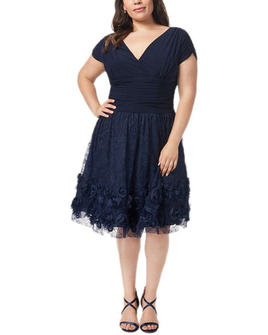 SL Fashions Plus Size Rosette Fit & Flare Dress