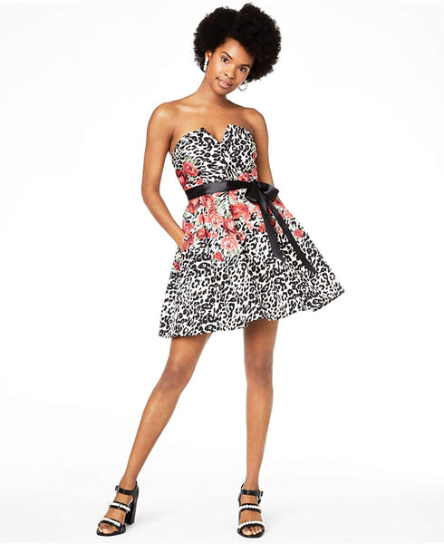 Teeze Me Womens Belted Printed Strapless Short Party Dress | Size - 9 | Black