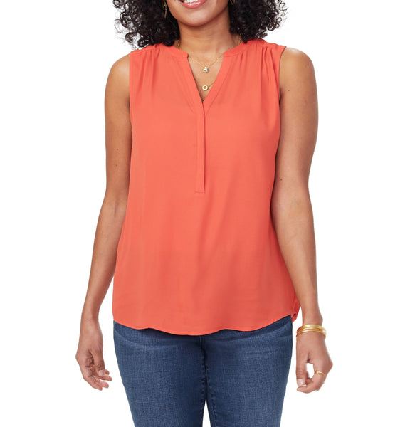 Curves 360 by NYDJ Women Split neck Blouse | Size - Medium | Chili Pepper