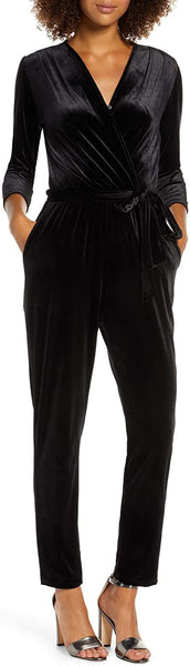 Fraiche By J Women's Velvet Jumpsuit, Size Large - Black