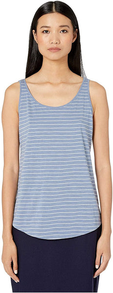 Eileen Fisher Organic Cotton Slub Stripe Scoop Neck Tank Chambray SM