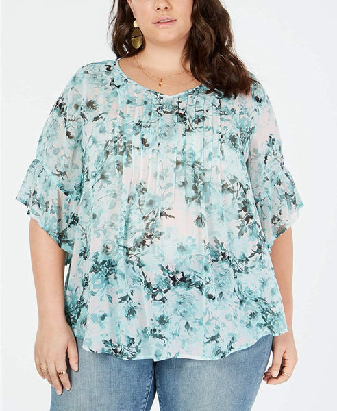 Style & Co. Plus Size Floral-Print Pleated Top - 1X