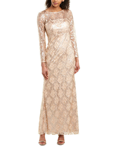 Eliza J Embroidered Lace Trumpet Gown - Size 4, Latte