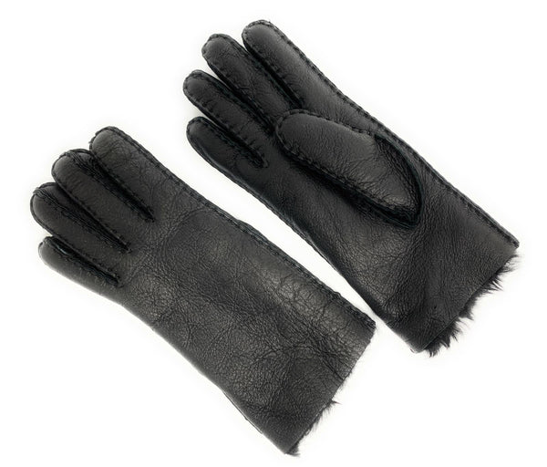 Designer Shearling Top Stitch Women's Leather Glove - Size Medium/Large - Black