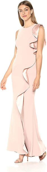 Carmen Marc Valvo Infusion Women's Gown Ruffle Flounce, Size 10 - Pink