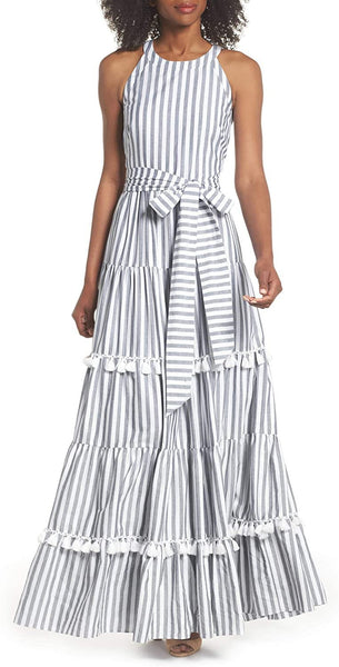 Eliza J Petite Women's Tiered Tassel Fringe Cotton Maxi Dress, Size 12P - Ivory