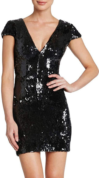 Dress the Population Women Zoe Sequin V-Neck Body-Con Dress, Size Large, Black