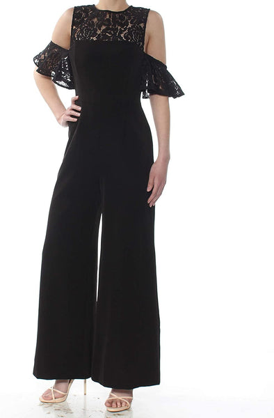 Fame and Partners Women's The Carnation Lace-Trim Jumpsuit, Black, 4