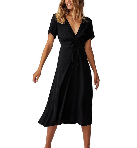 Cotton On Women Woven Issa Gathered Front Midi Dress | Size - Large | Black