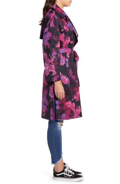 Tinsel Women Tie Dye Trench Coat | Size - Small | Color - Purple