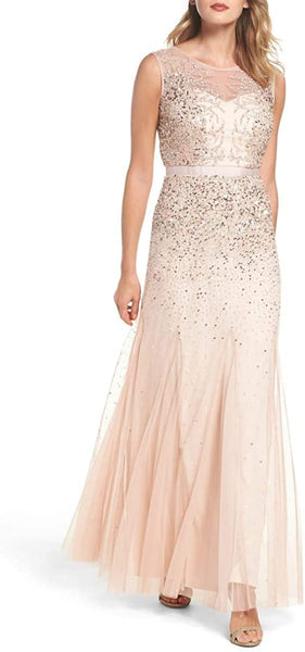 Women's Adrianna Papel Petitel Beaded Chiffon Gown, Size 10P - Pink