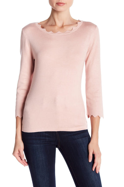 Philosophy Women Scallop 3/4 Sleeve Lt Blush Sweater | Size - XL | Pink