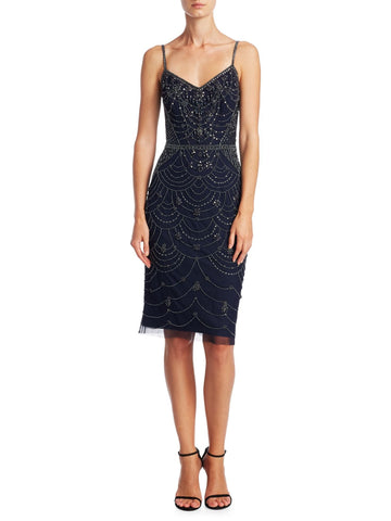 Theia Beaded Spaghetti Strap Cocktail Dress