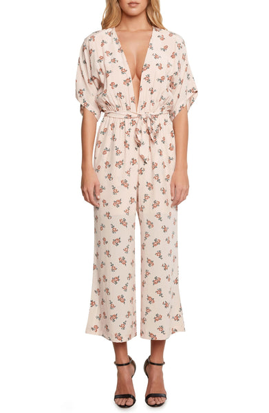 Willow & Clay Women's Plunging Jumpsuit, Size 8 - Coral