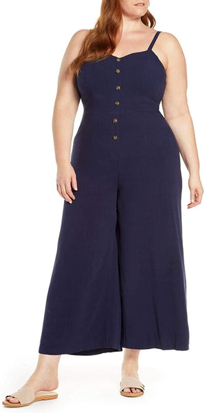 1901 Women Plus Size Button Front Jumpsuit, Blue, 2X