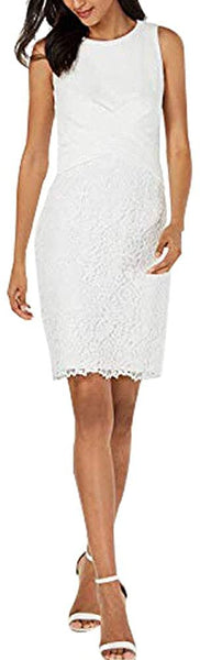 Taylor Petite Sleeveless Lace Sheath Dress White 4