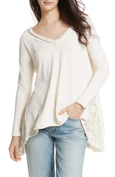 Women's Free People No Frills Lace Inset Asymmetrical Top, Size X-Small - Ivory