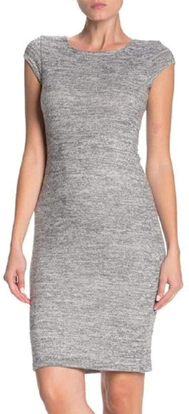 Velvet Torch Cap Sleeve Bodycon Dress, Size X-Small, Heather Grey