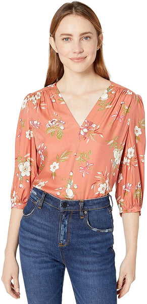 Rebecca Taylor Women's Three Quarter Floral Top with Ties at Sleeve