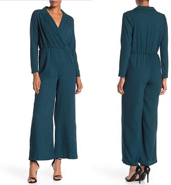 Good Luck Gem Long Sleeve Collared Jumpsuit-Large, Blue/Green