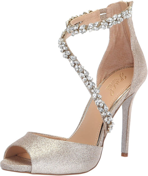 Jewel Badgley Mischka Women's JAVIER Sandal, gold, M065 M US