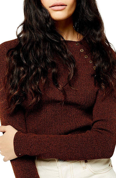 Topshop Women Button Ribbed Pullover | Size - Small | Color - Brown