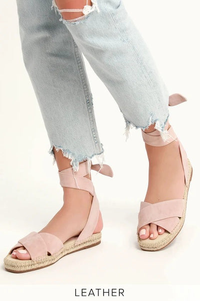 Splendid Tereza Blush Suede Leather Lace-Up Espadrille Sandals Pink 7.5