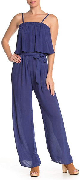 Como Vintage Women's Draped Top Jumpsuit - Size Medium, Denim
