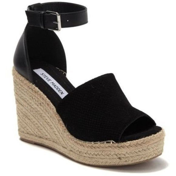 Steve Madden Black Suede Josey Wedge, Black, Size: 10