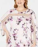 Alfani Plus Size Illusion-Trim Shift Pink Dress