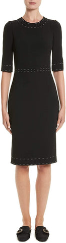 Dolce & Gabbana Women's Stretch Cady Sheath Dress, Size 14 - Black