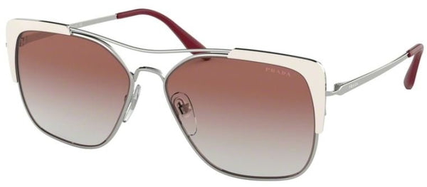 PRADA Women SPR 54V1 Sunglasses with red ear hook, One Size, SILVER IVORY