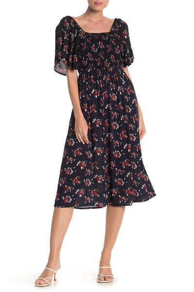 SUSINA Short Sleeve Smocked Midi Dress - Size Small, Navy Captain