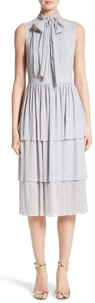 St. John Crinkle Silk Georgette Tiered Dress Collection Grey - 8