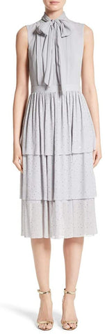 St. John Crinkle Silk Georgette Tiered Dress Collection Grey
