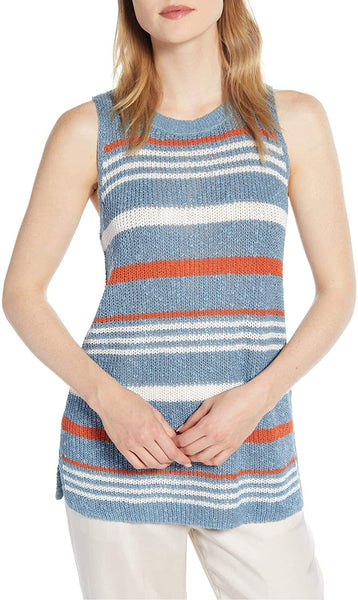 Lou & Grey Women's Stripe Sweater Tank - Size Small - Blue