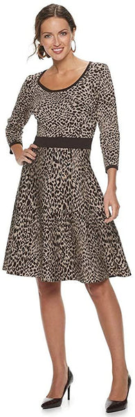 Nina Leonard Women's Animal-Print Sweater Dress, Size: XL, Brown
