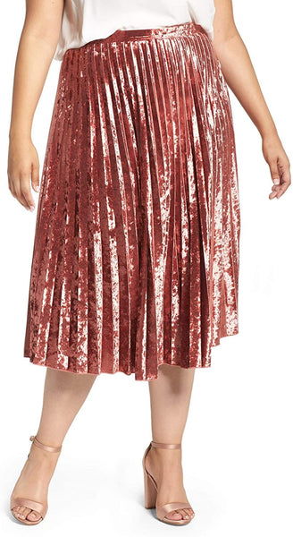 Glamorous Plus Size Women's Velvet Pleat Skirt, Size 18W - Red