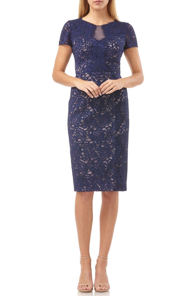 JS Collections Women's Panel Lace Short Sleeve Cocktail Dress - Size 8, Blue