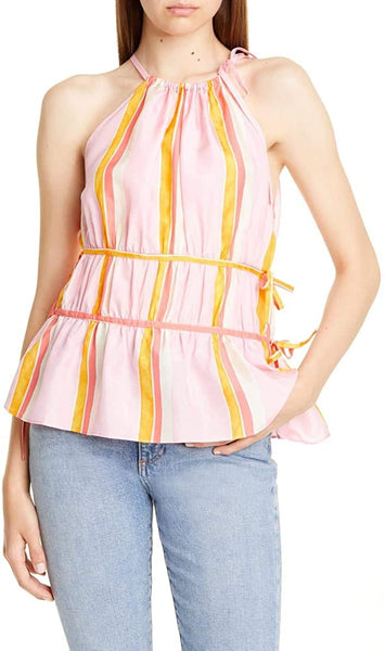 Club Monaco Women Priyah Sleeveless Silk Top Ties at Neck | Size - Small | Pink