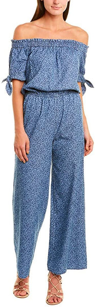 CeCe Women's Floral Print Wide Leg Jumpsuit - Size Medium, Indigo