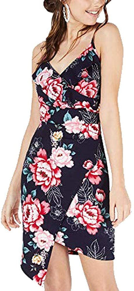 Crave Frame Womens Juniors Floral Ruffled Cocktail Dress, Navy, L