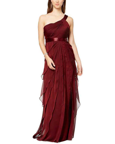 Adrianna Papell One Shoulder Tiered Chiffon Gown