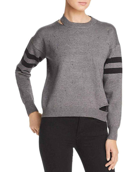 Elan Distressed Stripe Sleeve Sweater