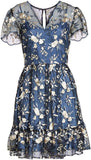 Gal Meets Glam Collection Women's Bridget Embroidered Dress, Size 10 - Blue