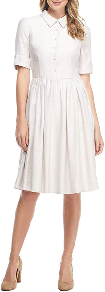 GAL MEETS GLAM COLLECTION Women's Beatrice Tussah Textured Fit & Flare Dress, Size 4 - Beige