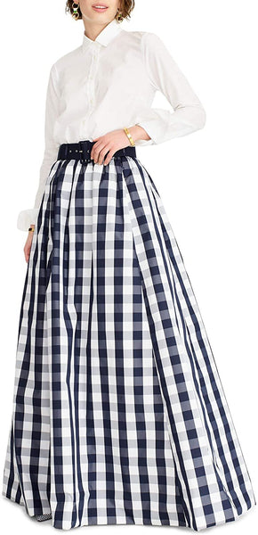 J.crew Women's Gingham Belted Taffeta Ball Skirt - Size 6 | Blue