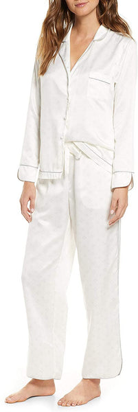 Rachel Parcell Women's Satin Pajamas - Size Large | Ivory